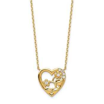 14K Heart with Flowers & CZ with 2IN EXT Necklace