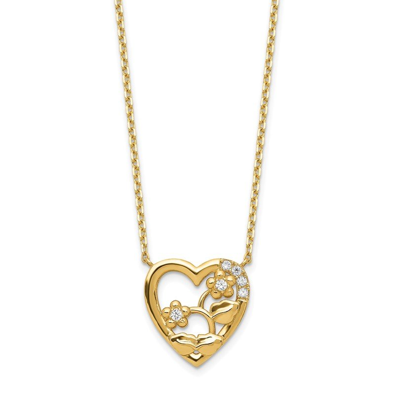 Quality Gold 14K Heart with Flowers & CZ with 2IN EXT Necklace