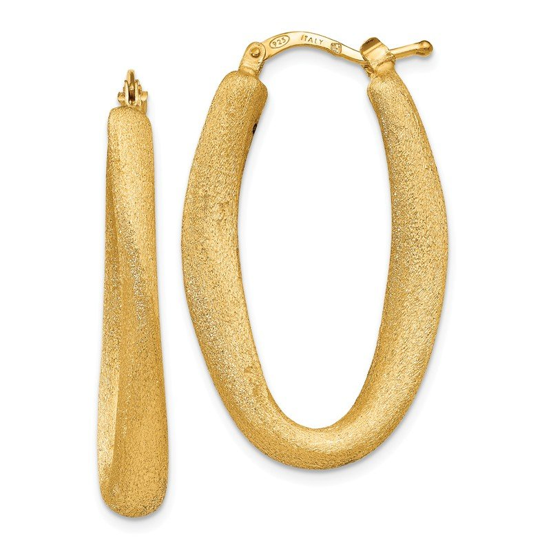 Leslie's Leslie's Sterling Silver Gold-plated Brushed Oval Hoop Earrings