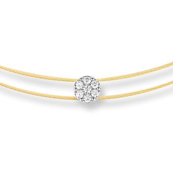 Yellow Cable Double Row Disco Choker Necklace with 18kt White Gold & Diamonds