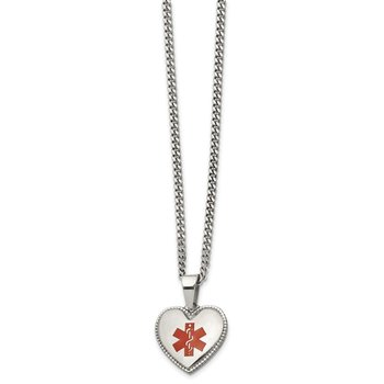 Stainless Steel Polished w/Red Enamel Heart Medical ID 20in Necklace