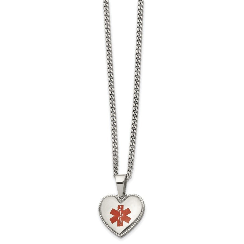Chisel Stainless Steel Polished w/Red Enamel Heart Medical ID 20in Necklace