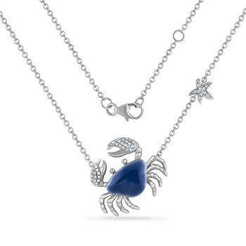 14K crab necklace with 44 diamonds 0.15CT & blue enamel 18mm long X 24mm wide