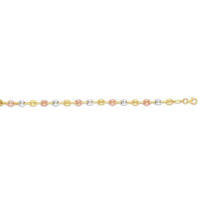 Royal Chain 14K Tri-color Gold Puffed Mariner Link Bracelet