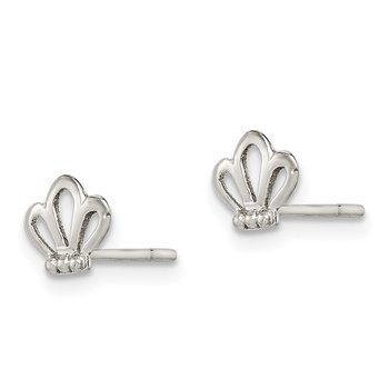 Sterling Silver Polished Crown Post Earrings