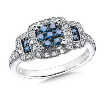 Pave set Blue and White Diamond Ring, 10k White Gold  (1/2 ct. tw.)