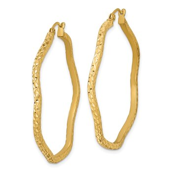 Sterling Silver Gold-plated Diamond Cut 2mm Wavy Hoop Earrings