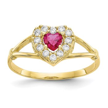 10K Red and White CZ Heart Ring