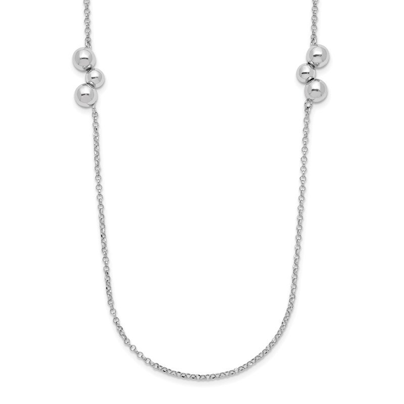 Quality Gold Sterling Silver Rhodium-plated Polished Beaded Necklace