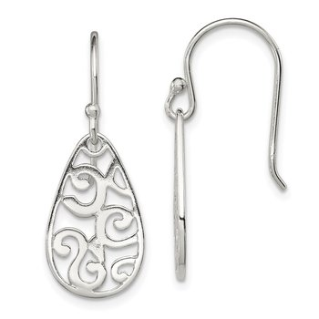 Sterling Silver Filigree Oval Dangle Earrings