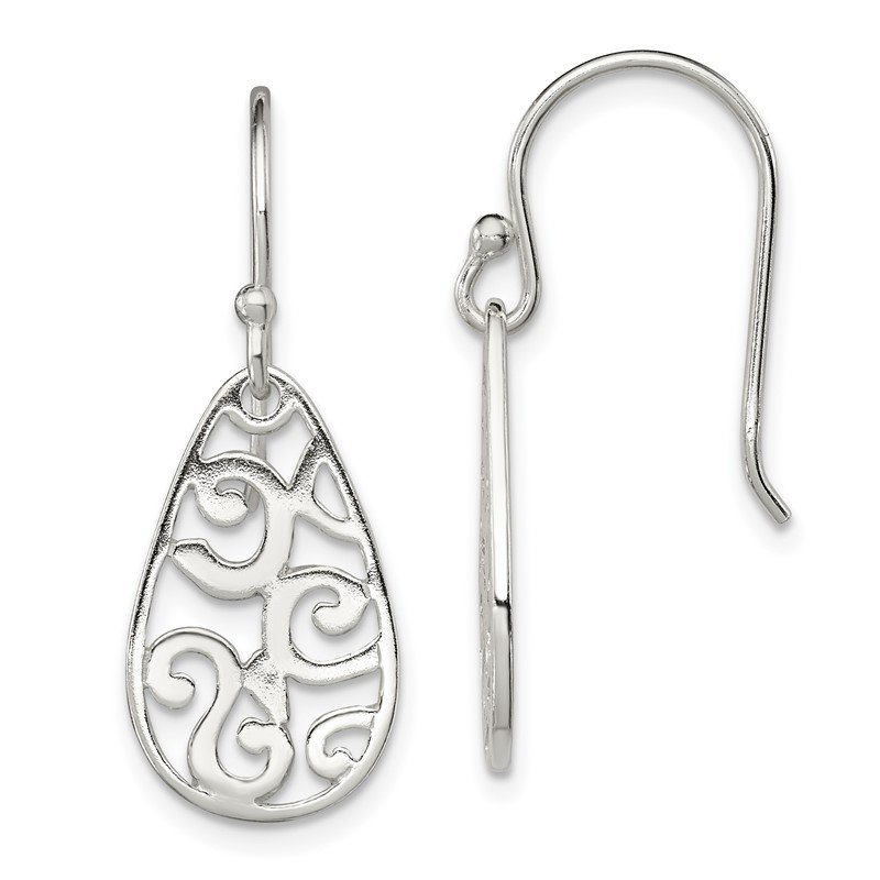Quality Gold Sterling Silver Filigree Oval Dangle Earrings