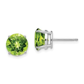 14k White Gold 8mm Peridot Earring