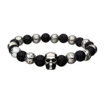 Black and White Lava Beads with Skull Bracelet