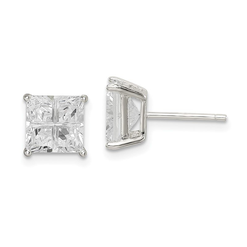 Quality Gold Sterling Silver 7mm Square Cross-cut CZ Basket Set Stud Earrings