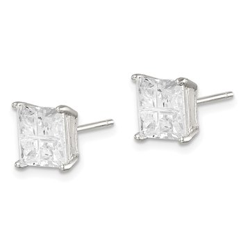 Sterling Silver 7mm Square Cross-cut CZ Basket Set Stud Earrings