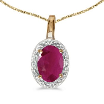 14k Yellow Gold Oval Ruby And Diamond Pendant