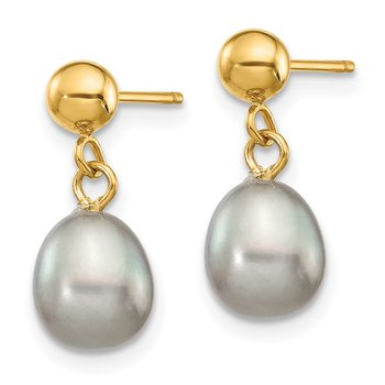 14k 6-7mm Grey Rice Freshwater Cultured Pearl Dangle Post Earrings