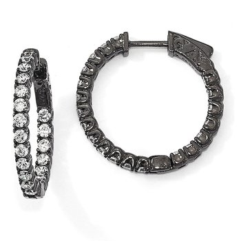 Sterling Silver Black-plated CZ In & Out Hoop Earrings