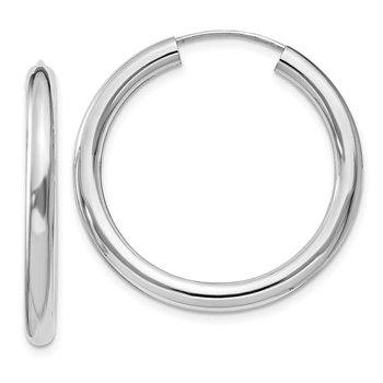 Sterling Silver Rhodium-plated 3x30mm Endless Tube Hoop Earrings