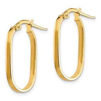 14K Small 2x1mm Oval Hoop Earrings