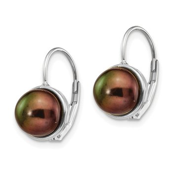 14K White Gold 6-7mm Black Button FW Cultured Pearl Leverback Earrings