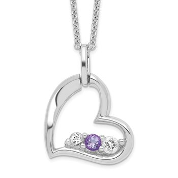 Sterling Silver Survivor Clear & Purple Swarovski Topaz Heart Strength Neck