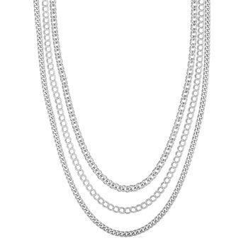 Silver Mixed Chain Multistrand Necklace