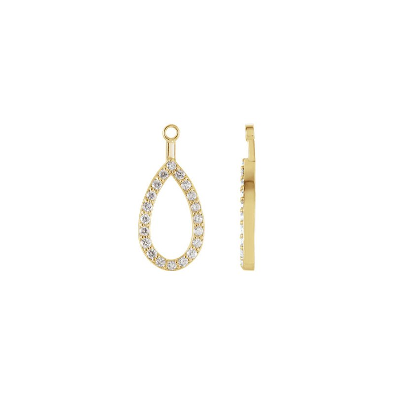 14K Yellow Teardrop Halo-Style Earring Jacket Mounting