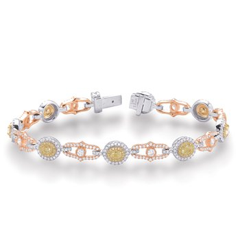 Rose Yellow White Gold Diamond Bracelet