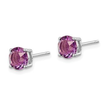 Sterling Silver Rhod-pltd Purple Swar Crystl Birthstone Earrings