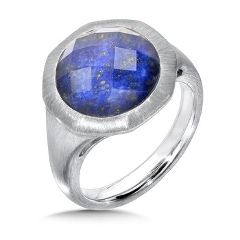 Sterling Silver White Quartz & Lapis Fusion Ring