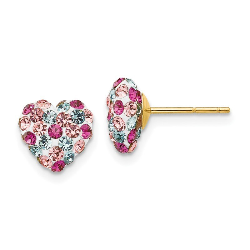 Quality Gold 14K Post Multi-colored 8mm Crystal Heart Earrings