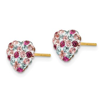 14K Post Multi-colored 8mm Crystal Heart Earrings