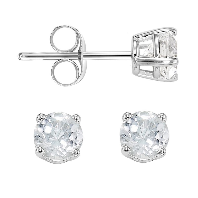14K White Topaz Studs 4 mm RD