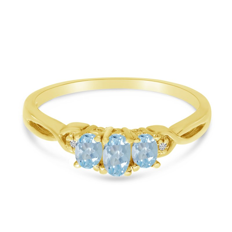 Color Merchants 14k Yellow Gold Oval Aquamarine And Diamond Three Stone Ring
