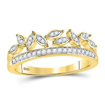 10kt Yellow Gold Womens Round Diamond Floral Leaf Fashion Band Ring 1/6 Cttw