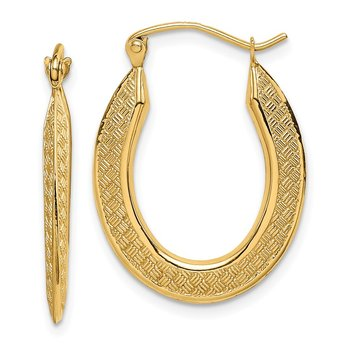 14k Textured Stamped Hoop Earrings