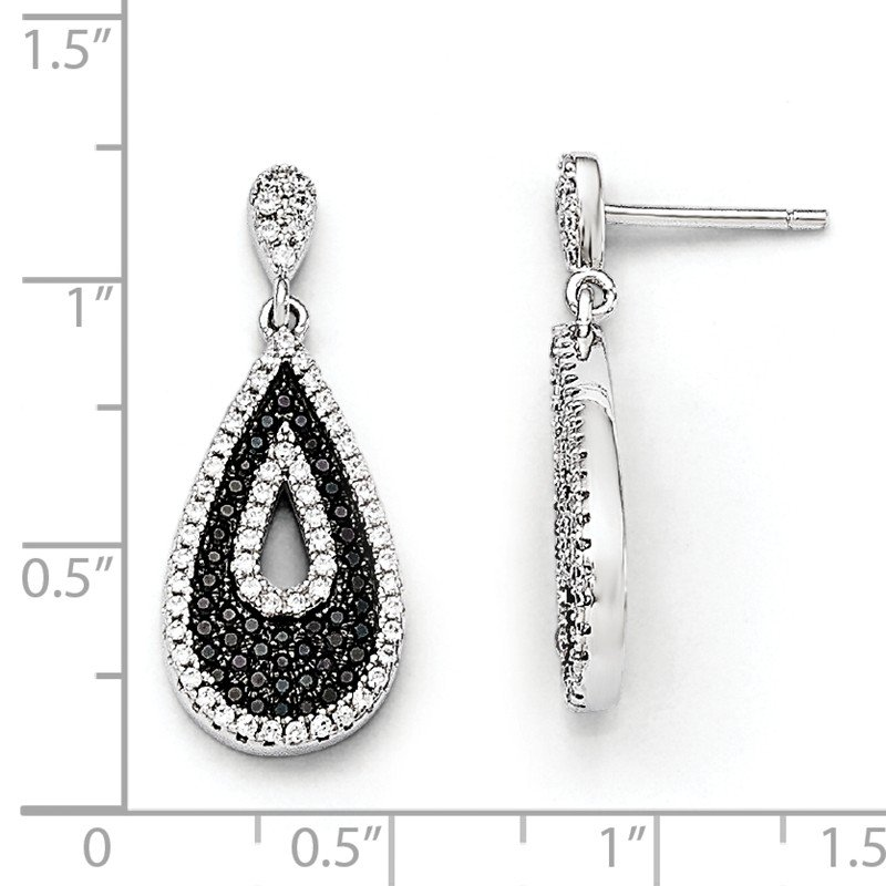 Quality Gold SS RH CZ Brilliant Embers Teardrop Dangle Post Earrings