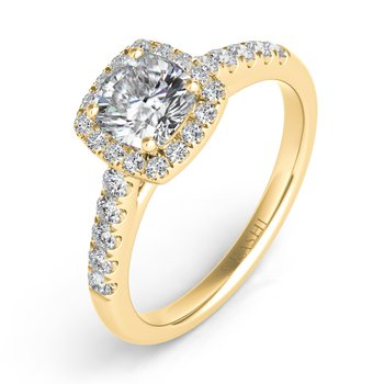 Yellow Gold Halo Ring