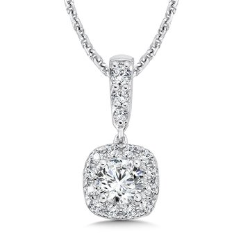 Diamond Cushion Halo and Diamond Bale Pendant in 14K White Gold (1/3ct. tw.)
