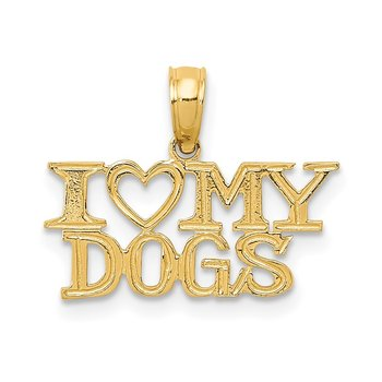 14k I HEART MY DOGS Pendant
