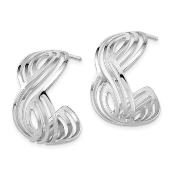 Sterling Silver Rhodium-plated Polished Post Hoop Earrings