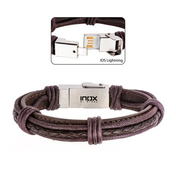 Genuine Brown Leather Ios Usb Bracelet
