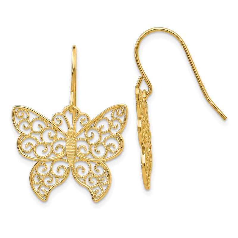 Quality Gold 14K Butterfly Earrings