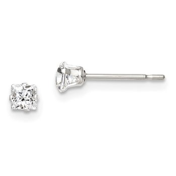 Sterling Silver 3mm Square Snap Set CZ Stud Earrings
