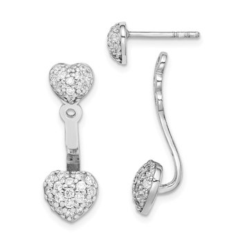 Sterling Silver Rhodium Plated CZ Heart Post Earrings w/ Jacket