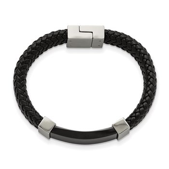 Stainless Steel Polished Black IP-plated Black Leather 8.5in Bracelet