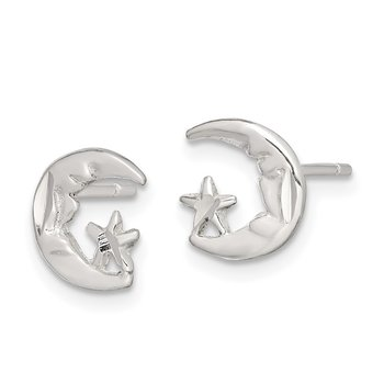 Sterling Silver Moon and Star Mini Earrings