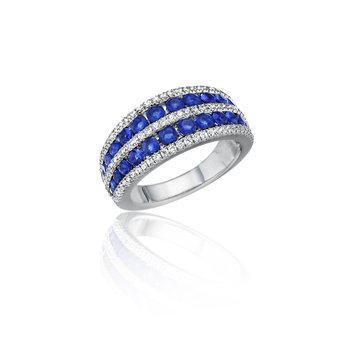 Chasing Bliss Sapphire and Diamond Stacked Row Ring