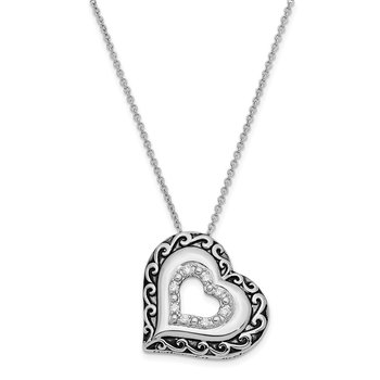 Sterling Silver CZ Antiqued Mother Of the Bride 18in. Necklace